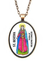 St Bertha Patron of Healing Cancer Huge 30x40mm Antique Copper Pendant [... - $14.95