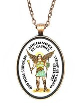 St Gabriel Patron Archangel of Gods Messages Huge 30x40mm Antique Copper... - $14.95