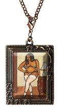 Curvy Girl Ebony Boudoir Antique Copper Huge Oversize Clip Pendant - $14.95