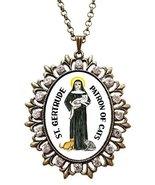 "St Gertrude Patron Saint of Cats Huge 2 1/2"" Antique Bronze Gold Medalli... - $24.95"