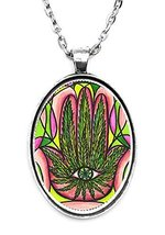 Marijuana Hamsa Huge 30x40mm Handmade Silver Plated Art Pendant [Jewelry] - $14.95