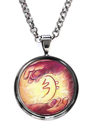 Sei Hei Ki Reiki Healing Hands Gunmetal Pendant with Chain Necklace [Jewelry]