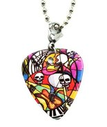 Love and Music Skulls 2 Sided Guitar Pick Pendant with Necklace Chain [J... - $12.95