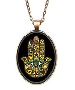 Interfaith Unity Hamsa Huge 30x40mm Antique Copper Pendant with Chain Ne... - $14.95