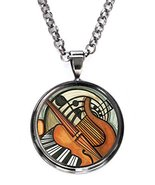 Classic Violin Piano Fine Art of Music Gunmetal Pendant with Chain Necklace - $14.95
