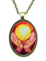 Light Worker Healing Hands Huge 30x40mm Antique Bronze Gold Pendant with... - $14.95