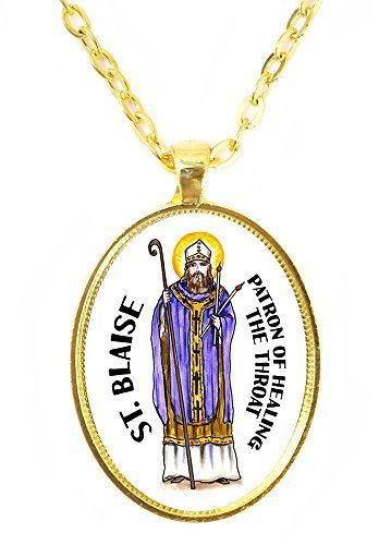 St Blaise Patron of Healing the Throat Huge 30x40mm Bright Gold Pendant