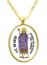 St Blaise Patron of Healing the Throat Huge 30x40mm Bright Gold Pendant - $14.95