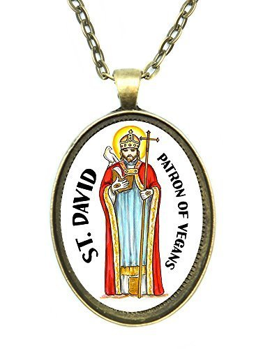 Saint David Patron of Vegans Huge 30x40mm Handmade Antique Bronze Gold Pendant