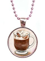 Mocha Chocolate Cafe Love Metallic Pink Pendant with Chain Necklace [Jewelry] - $14.95