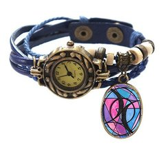 "Bisexual Blue Boho Leather Charm Bracelet Watch 7"" to 8 1/4"" [Watch] - $14.95"