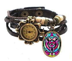 "Transgender Brown Boho Leather Charm Bracelet Watch 7"" to 8 1/4"" [Watch] - $14.95"