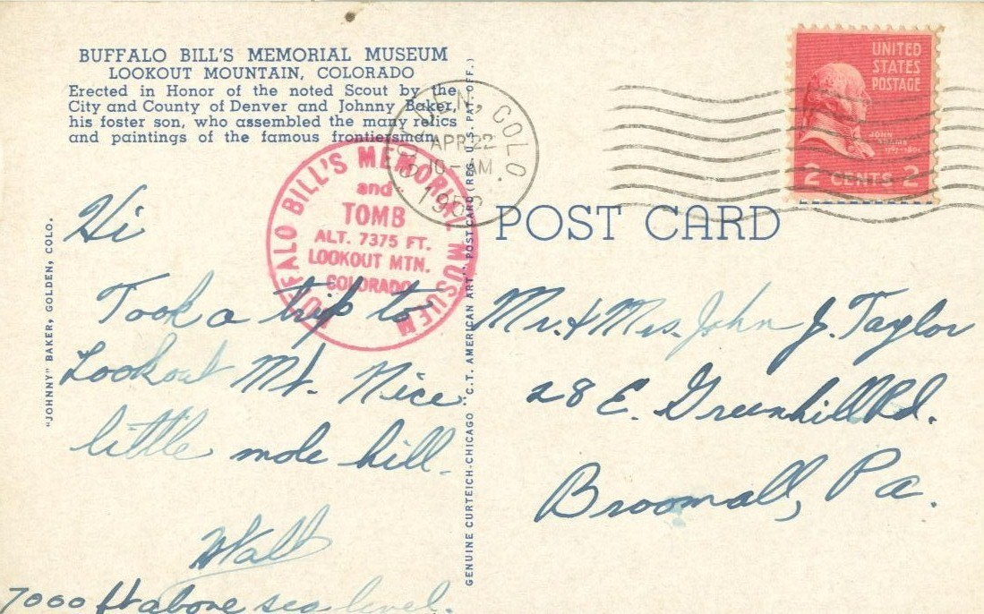 Buffalo Bill's Memorial Museum, Lookout Mountain, Colorado, 1952 used Postcard