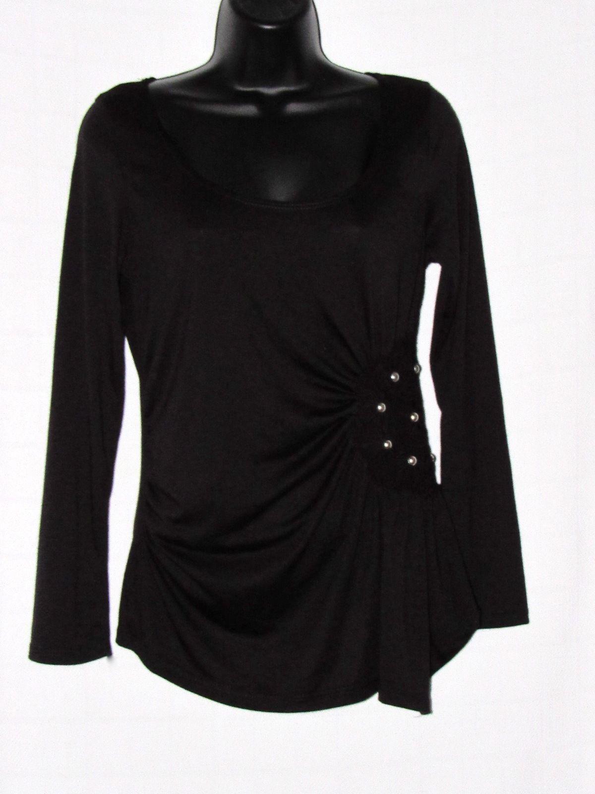 Nolita Sky Black Long Sleeve Floral Crochet Stud Embellished Knit Top - L