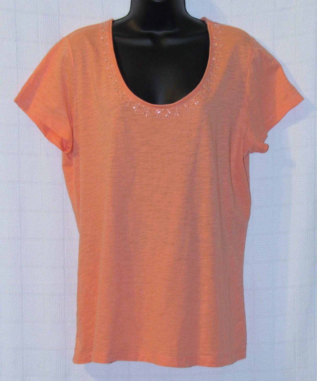 St. John's Bay Embellished Apricot-Peach-Cotton Knit Top Size: XL