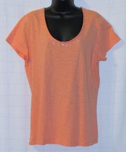 St. John's Bay Embellished Apricot-Peach-Cotton Knit Top Size: XL