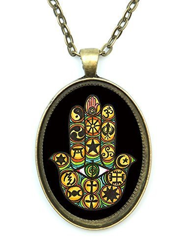 Interfaith Unity Hamsa Huge 30x40mm Antique Bronze Gold Pendant with Chain Ne...