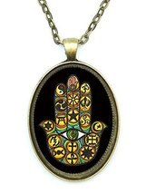 Interfaith Unity Hamsa Huge 30x40mm Antique Bronze Gold Pendant with Cha... - $14.95