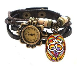 "Gay Brown Boho Leather Charm Bracelet Watch 7"" to 8 1/4"" [Watch] - $14.95"