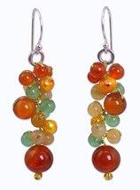 Yellow Pearl Carnelian Quartz Cluster Earrings  - $39.99