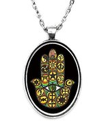 Interfaith Unity Hamsa Huge 30x40mm Handmade Silver Plated Art Pendant [... - $14.95