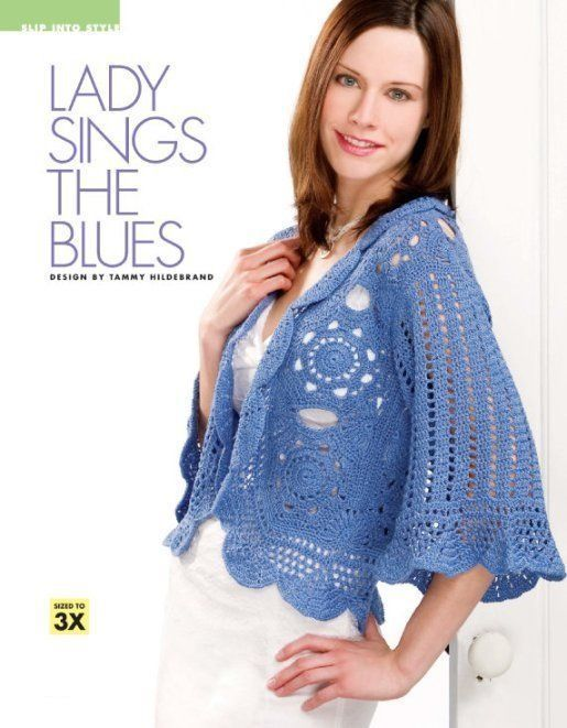 Primary image for Z167 Crochet PATTERN ONLY Rich Elegance Sapphire-blue Jacket Pattern Size to 3X