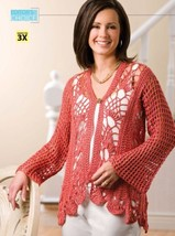Z200 Crochet PATTERN ONLY Coral Reef Cardigan Sweater Pattern Sized to 3XL - $7.50