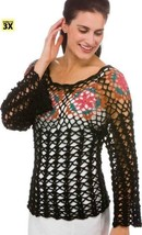 Z098 Crochet PATTERN ONLY Bright Colorful Motif Black Lace Pizzazz Top P... - $7.50
