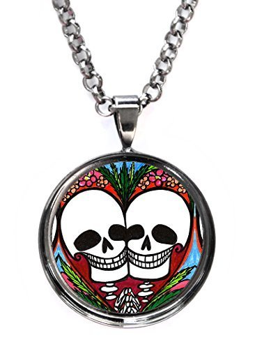 Sweetheart Love Skulls Gunmetal Pendant with Chain Necklace [Jewelry]