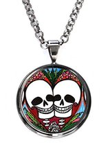 Sweetheart Love Skulls Gunmetal Pendant with Chain Necklace [Jewelry] - $14.95