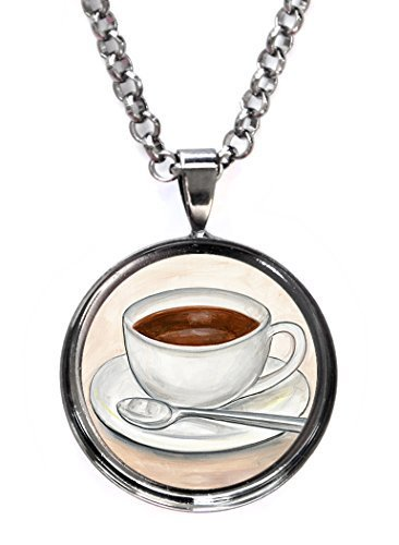 Cup of Coffee Gunmetal Pendant with Chain Necklace [Jewelry]