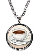 Cup of Coffee Gunmetal Pendant with Chain Necklace [Jewelry] - $14.95