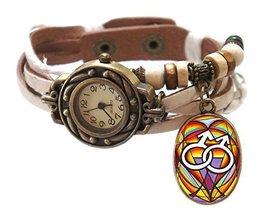 """Gay White Boho Leather Charm Bracelet Watch 7"""" to 8 1/4"""" [Watch] - $14.95"""
