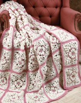 Z080 Crochet PATTERN ONLY Snow Flowers Granny Afghan Pattern - $7.50
