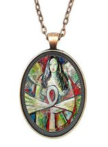 Egyptian Goddess Huge 30x40mm Antique Copper Pendant with Chain Necklace - $14.95