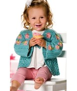 Z179 Crochet PATTERN ONLY Pretty flowers Baby or Child Cardigan Sweater ... - $7.45