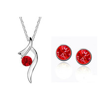 Austrian Crystal Fashion Pendant and Earrings Set Blue and Red Gifts for... - $8.30