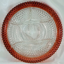 Indiana Glass Ruby Flash Diamond Point Divided Relish Tray/Serving Plate   - $24.99