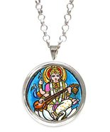 Saraswati of Knowledge, Music, Arts, Wisdom Silver Pendant with Chain Ne... - $14.95