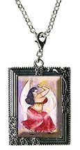 Curvy Girl Belly Dancer in Red Antique Silver Huge Oversize Clip Pendant - $14.95