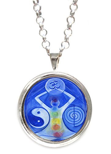 Universal Healing Manifestation Symbols Silver Pendant with Chain Necklace