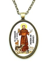 St Francis Patron of Animals Handmade Huge Antique Bronze Gold Pendant - $14.95