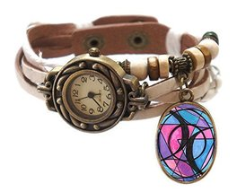 "Bisexual White Boho Leather Charm Bracelet Watch 7"" to 8 1/4"" [Watch] - $14.95"