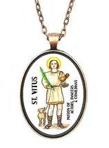 St Vitus Patron Actors, Comedians, Dancers Huge 30x40mm Antique Copper P... - $14.95