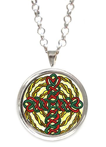 Celtic Knot Cross Silver Pendant with Chain Necklace [Jewelry]