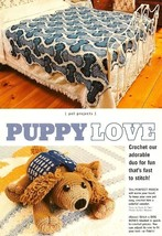 W994 Crochet PATTERN ONLY Dog Bone Afghan & Puppy Pooch Toy Pattern - $15.50