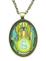 Wealth Manifestation Huge 30x40mm Antique Bronze Gold Pendant with Chain... - $14.95