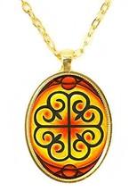 Adinkra Nyame Dua of Gods Altar for Presence & Protection Huge Gold Pendant - $14.95