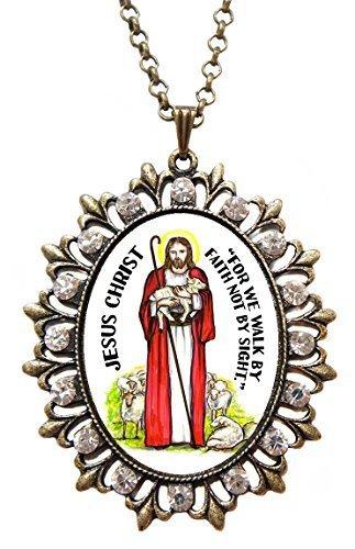 "Jesus Chris Huge 2 1/2"" Antique Bronze Gold Medallion Rhinestone Pendant with..."