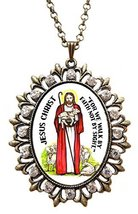 "Jesus Chris Huge 2 1/2"" Antique Bronze Gold Medallion Rhinestone Pendant... - $24.95"